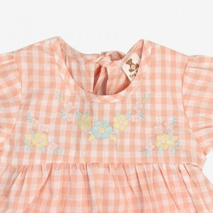 Embroidered Gingham Suit for Girls